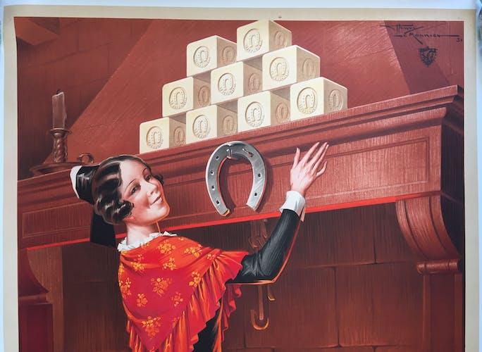 """Affiche originale """"Savon Fer à Cheval, porte-bonheur du foyer"""" 120x160cm 1931"""