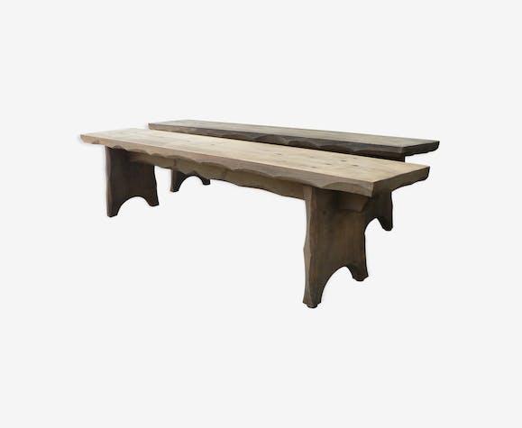 Paire de bancs de table de ferme rustique
