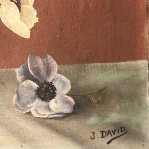"""Tableau """"Les anémones"""" signé J.David"""