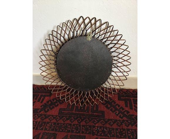 Miroir soleil en rotin 44x44cm