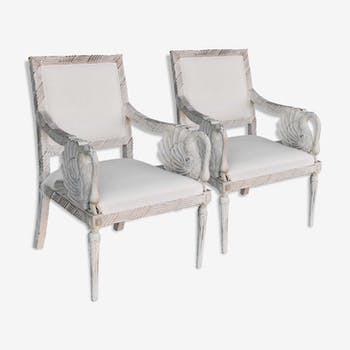 Pair of Empire style in white lacquered beech chairs