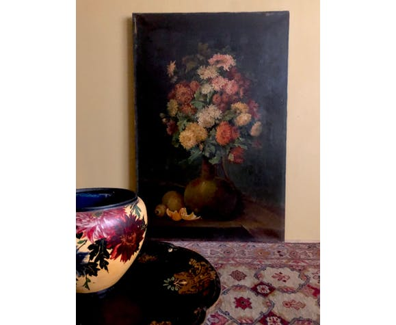 Tableau XIX eme huile sur toile fleurs et fruits