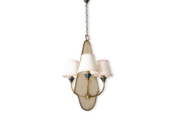 Magnifique lustre plafonnier suspension années 50 en tôle perforée ...