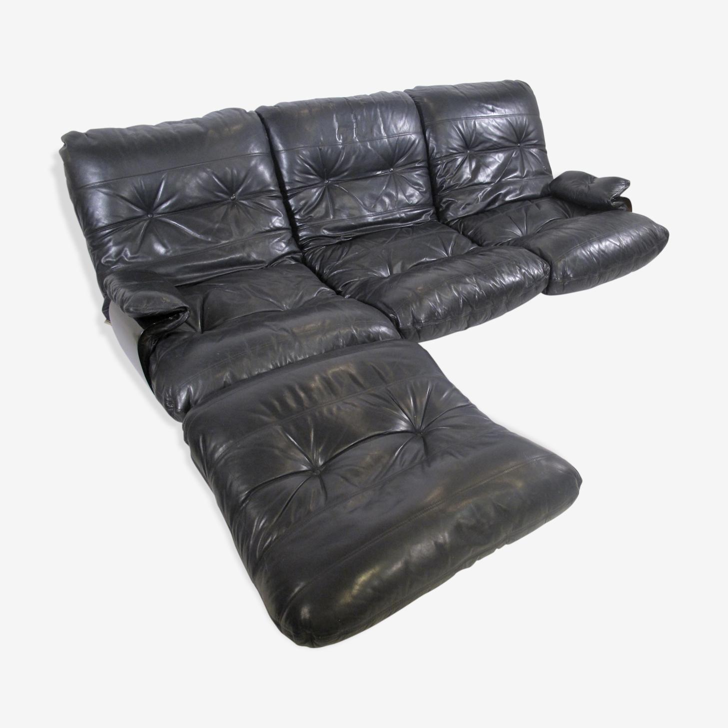 "Sofa leather and ottoman ""Marsala"", Ligne Roset, France 1970"