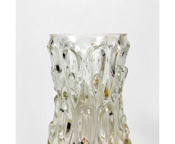 Paire de lampes de chevet verre moulé et plastique des sixties