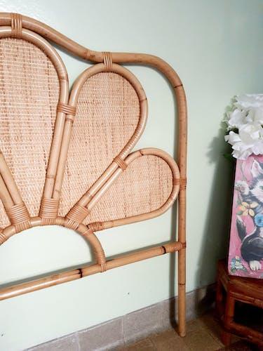 Tête de lit en rotin vintage 1 personne 90 cm