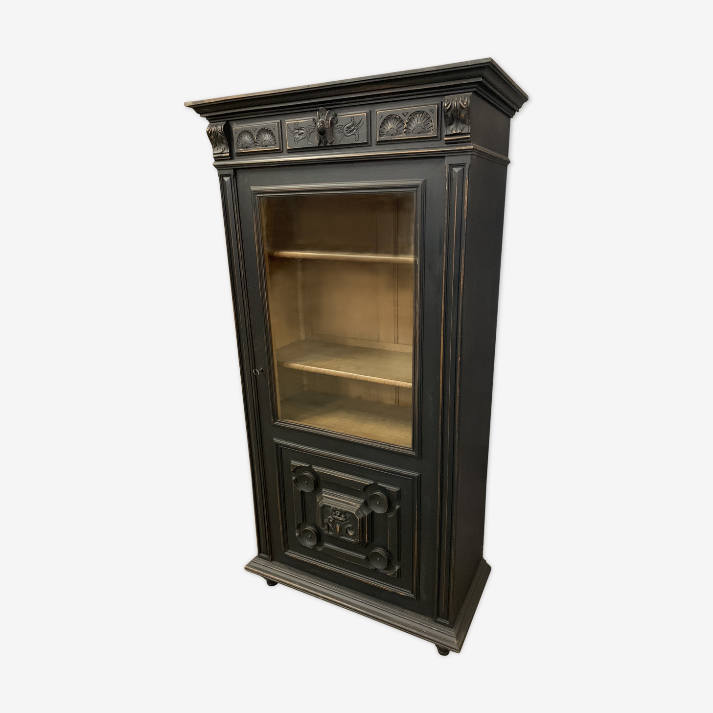 Old Napoleon III around 1890 black patinated showcase library
