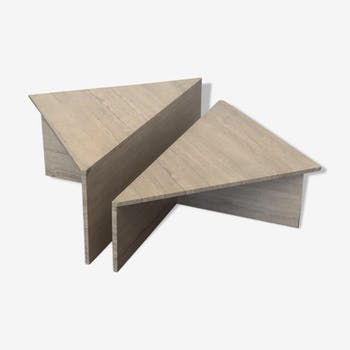 Travertine coffee table up and up