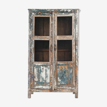 Patinated wooden glass showcase