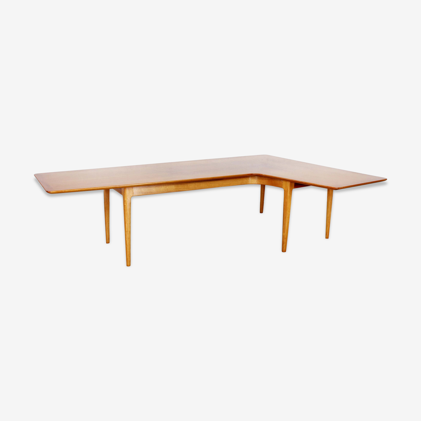 Table basse boomerang scandinave plaquée teck