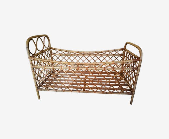 Bed cradle rattan child years 60