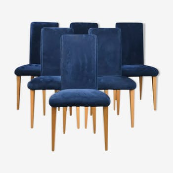 Six chaises velours 1970