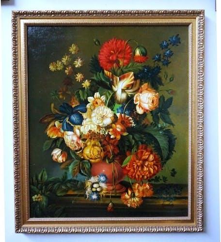 """""""Nature morte aux fleurs"""" painting signature H.Lovens"""