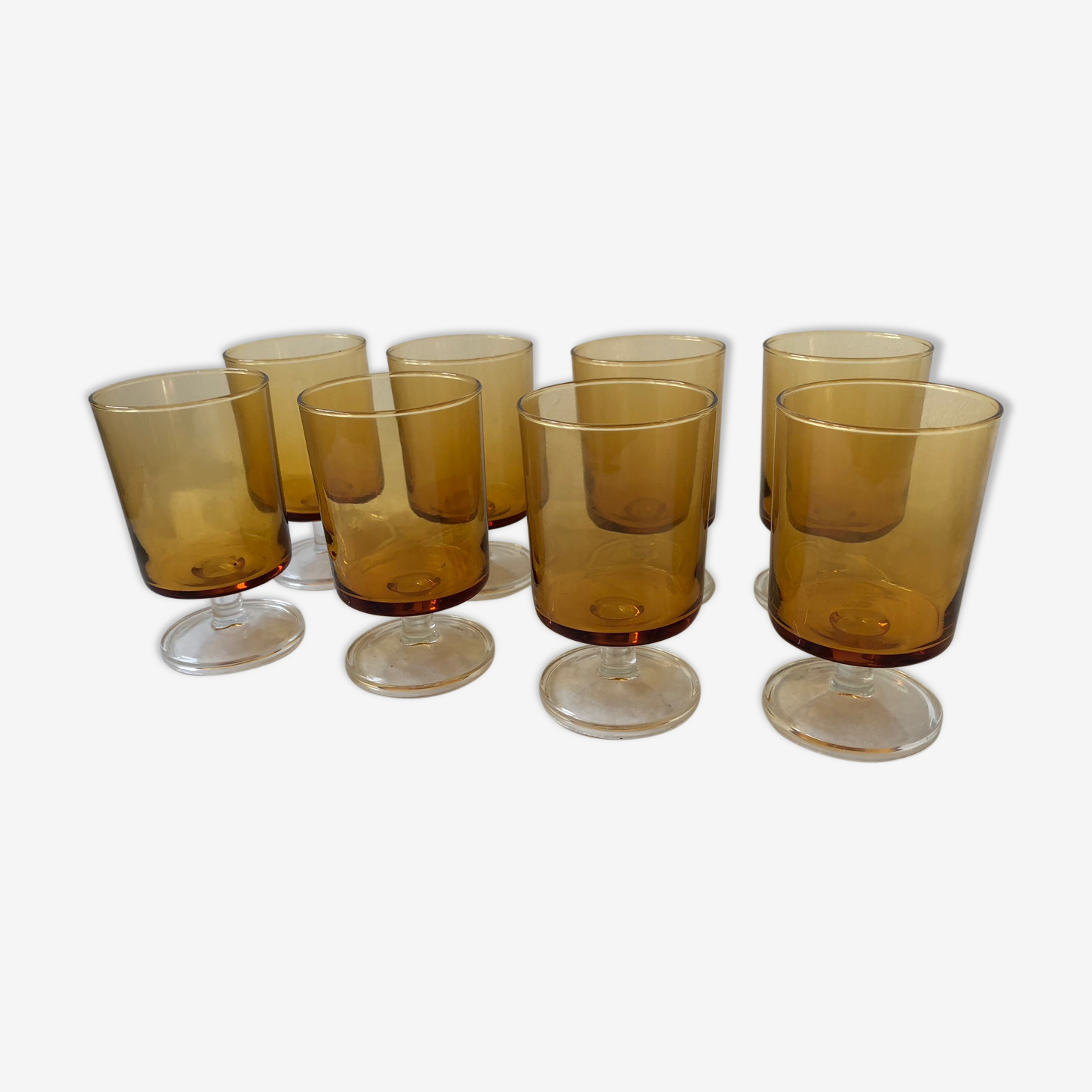 Set of 6 amber glass glasses with feet