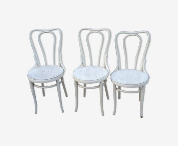 3 Chairs Bistro J J Kohn Wood White Vintage Ax3jzco