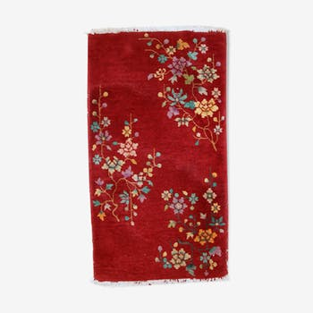 Carpet old Chinese art deco made hand 62cm x 111cm 1920 s