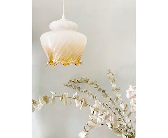 Suspension en verre dégradé blanc et ambre