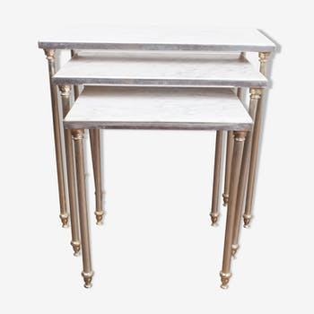 Table gigogne bronze et marbre