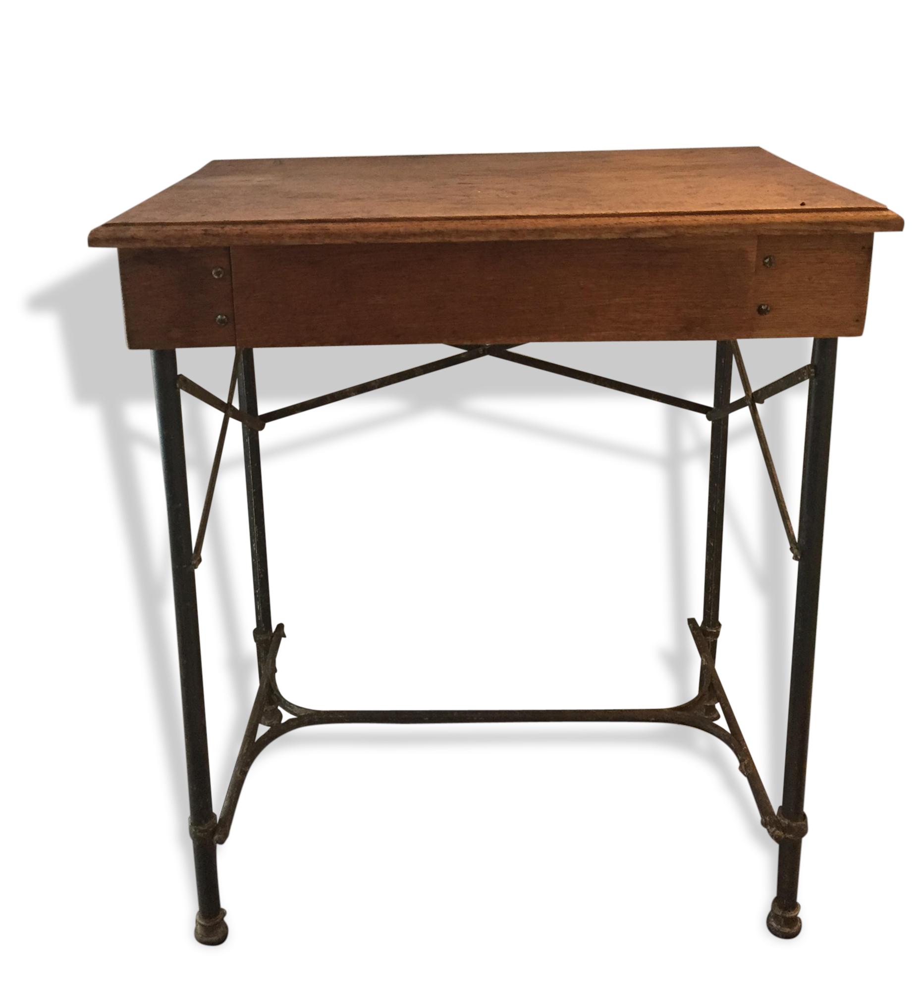 Bureau D'Écolier Vintage À Tiroir - Fonte - Beige - Vintage - 107175