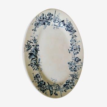 Ancient dish made of blue iron earth, birds, large depot Paris, 19th century
