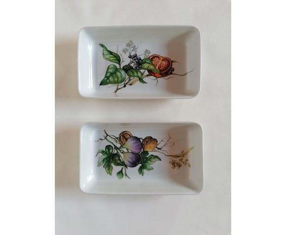 Deux raviers Villeroy et Boch décor botanique