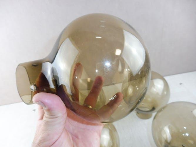 Lot de 5 globes boule, en verre, vintage