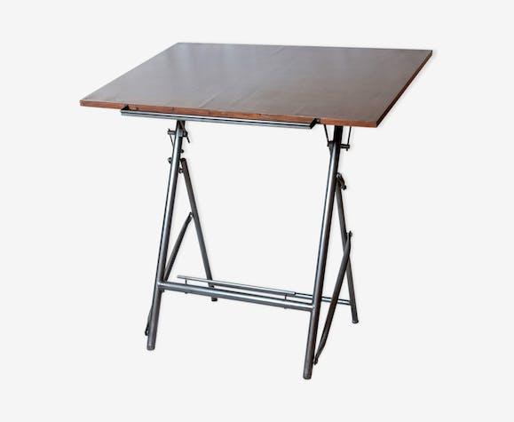 table dessin industriel vintage des ann es 60 bois. Black Bedroom Furniture Sets. Home Design Ideas