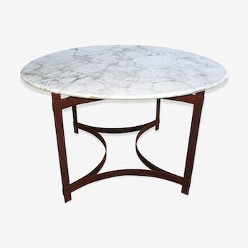Table en acier et marbre vers 1970