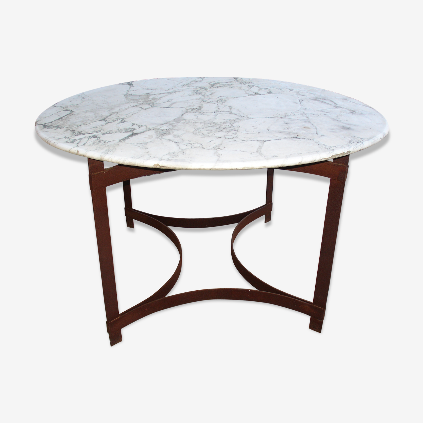 Table in steel and marble around 1970