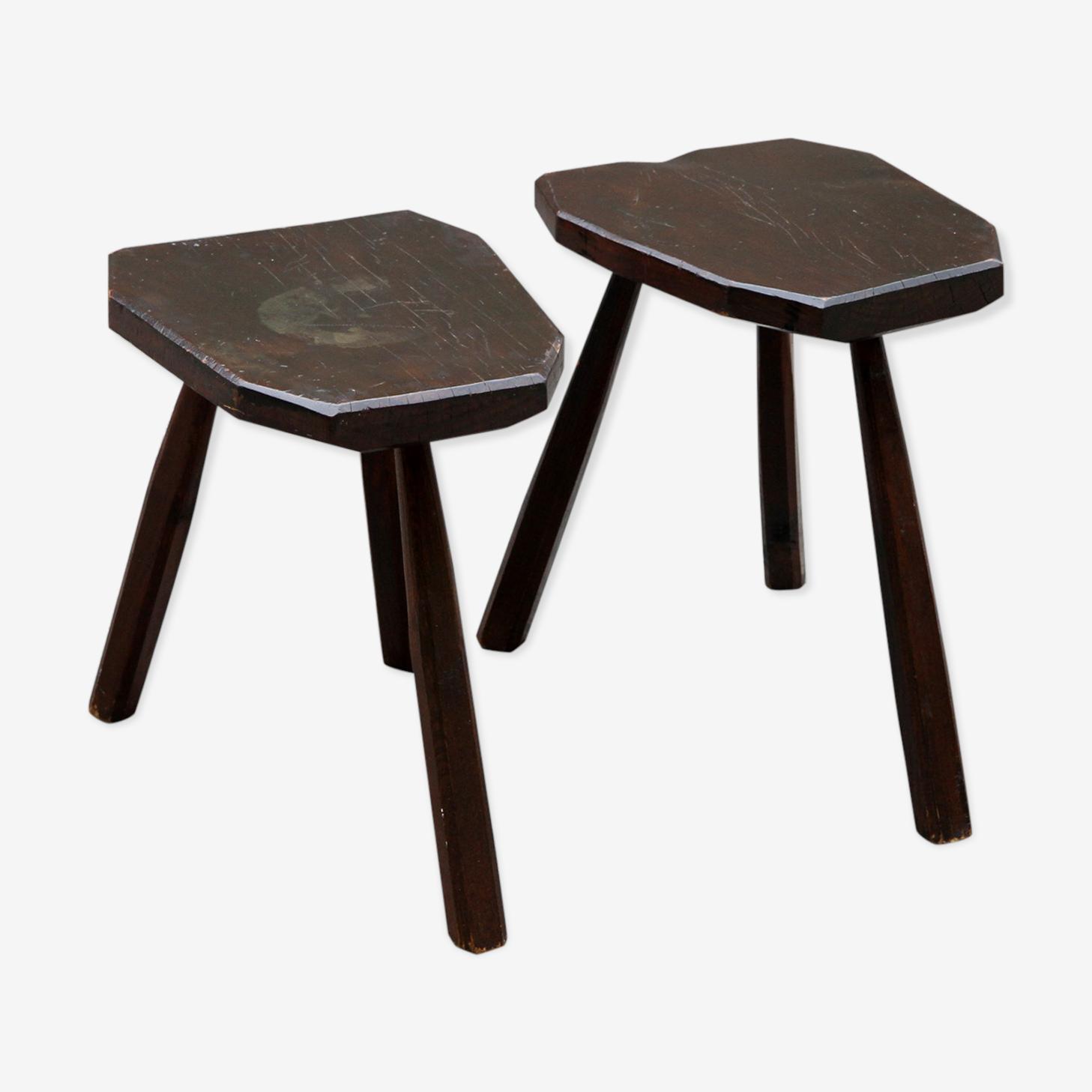 Pair of stools brutalist tripod