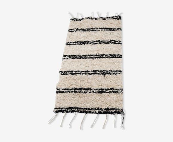 Tapis rayé blanc & noir 60 x 120 cm - laine/coton - blanc ...