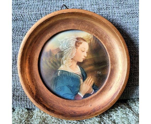 Peinture miniature dans un cadre en bois doré