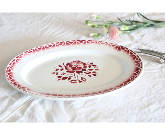 Plat ovale Badonviller, motif Nina, vintage, france