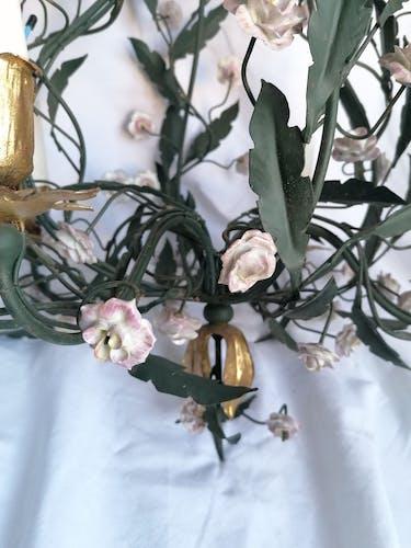 Lustre à fleurs émaillées