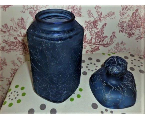 Blue faceted jar