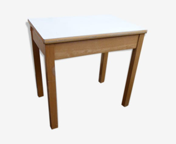 Children S Desk In Light Varnished Wood And White Tray