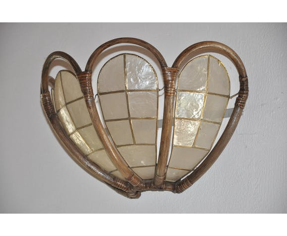 Wall light mother-of-pearl and bamboo flower shape