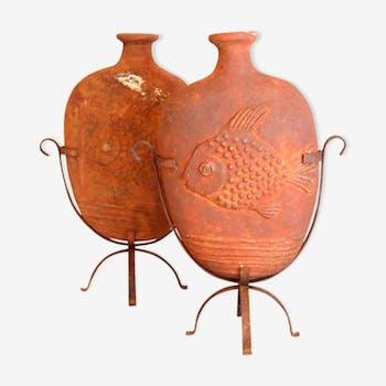 Paire de vase à décor de poissons