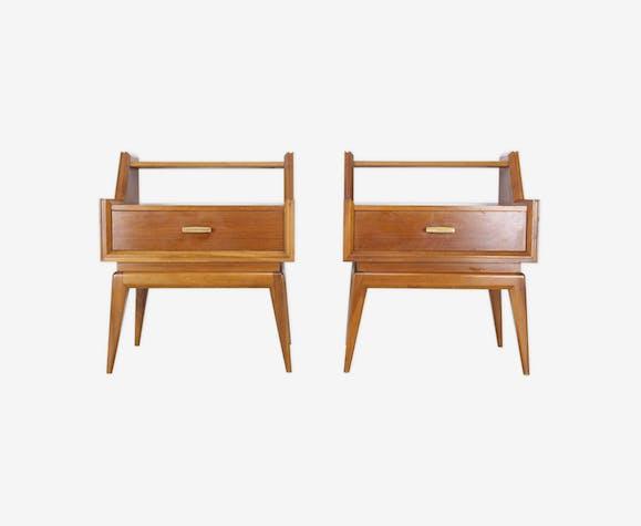 Paire de chevets ou table de nuit en bois scandinave