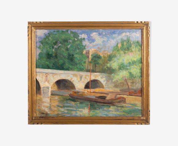 Paris, le Pont Marie -Signé J. Nebesov -Daté 1932
