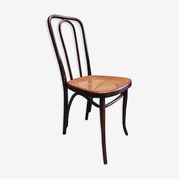 Chaise bois courbé cannée cannage style bistrot estampillée Thonet