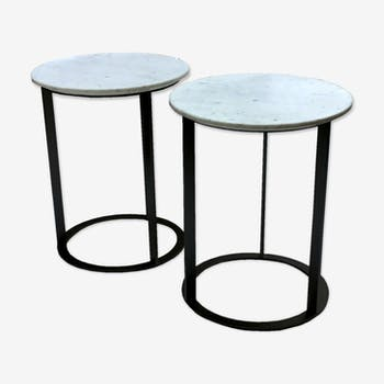Pair of coffee tables near marble and metal Antonio Citterio