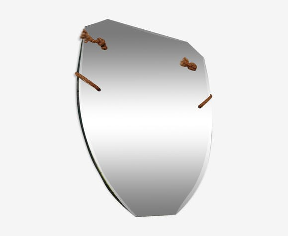 Ancien miroir au mercure biseauté art déco avec cordelette