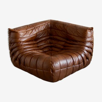 """Togo"" angle chair leather by Michel Ducaroy for Ligne Roset"
