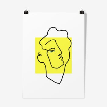 Illustration apollon jaune - affiche A3  29,7x42cm