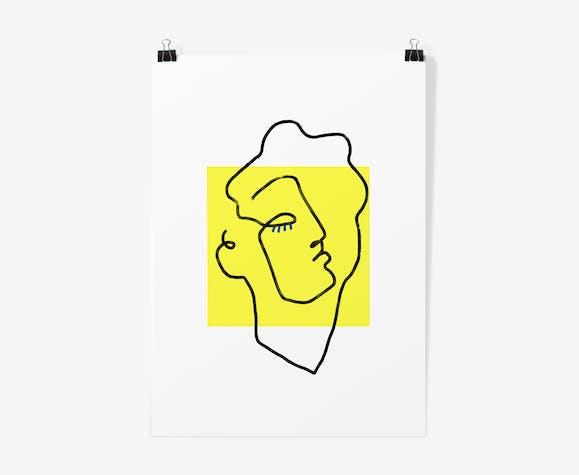 Illustration apollon jaune - affiche A3  29,7x42cm