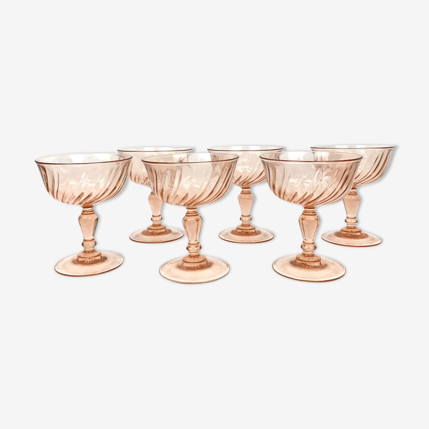 Lot of 6 cups champagne Rosaline Arcoroc