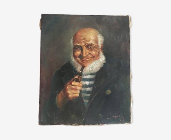 Portrait à l'huile ancien capitaine
