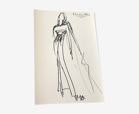 Esquisse de mode & photographie de presse Christian Dior collection 1988- 1989
