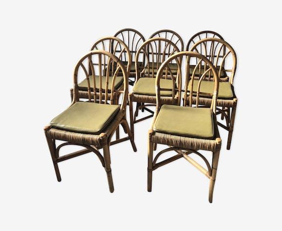 Ensemble de 8 chaises en rotin vintage
